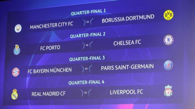 欧冠八强赛程